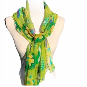 Vintage Spring Floral Green Silk Scarf